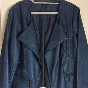Blue faux leather moto jacket